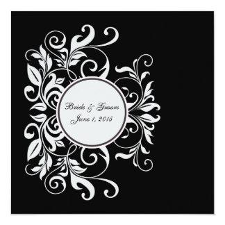 Convite branco formal do casamento do preto do