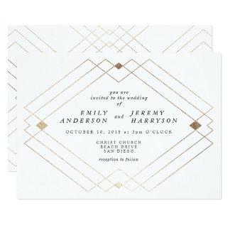 Convite branco geométrico do casamento de Deco do
