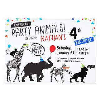 Convite branco preto do aniversário do animal de