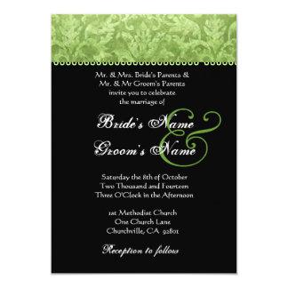 Convite branco preto verde-oliva do casamento tema