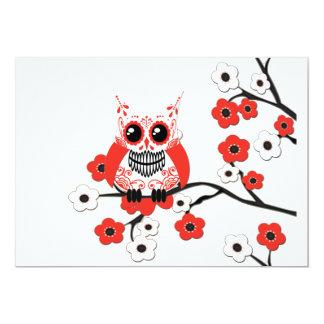 Convite branco vermelho da coruja da flor de