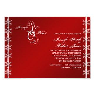 Convite branco vermelho do casamento no inverno do