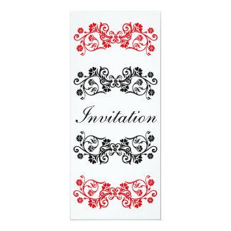 Convite branco & vermelho preto