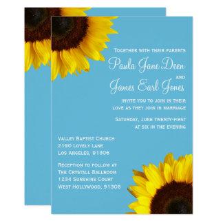 Convite brilhante do casamento do azul & do