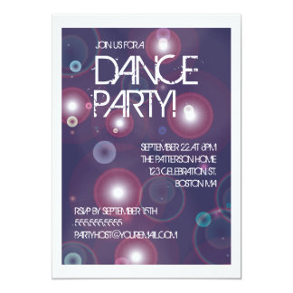 Convite brilhante do dance party das luzes
