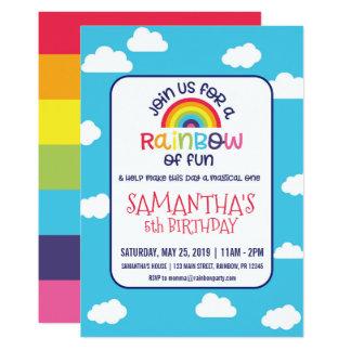 Convite brincalhão do aniversário do arco-íris