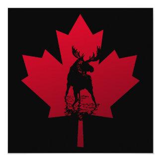 Convite canadense da folha de bordo e dos alces