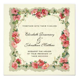 Convite Casamento vintage, rosas florais do rosa da beira