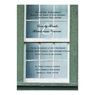 Convite católico arqueado do casamento da janela