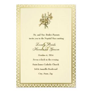Convite católico do casamento dos lírios