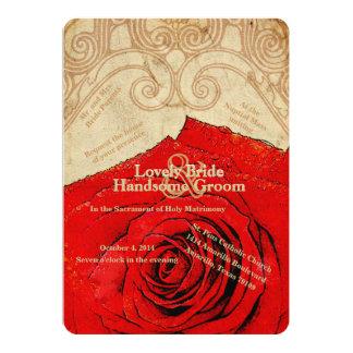 Convite católico do casamento vintage da rosa