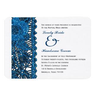 Convite católico Spangled azul do casamento do