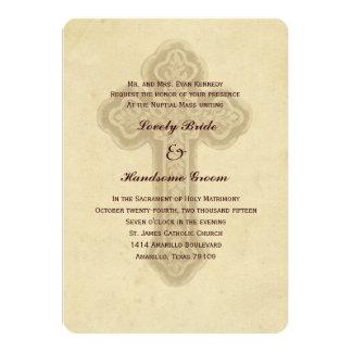 Convite católico transversal antigo do casamento