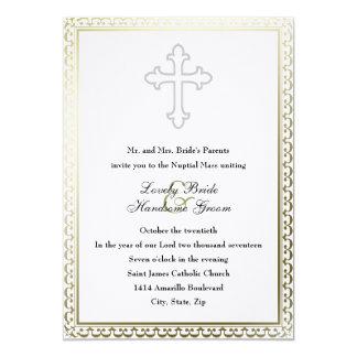 Convite católico transversal branco elegante do