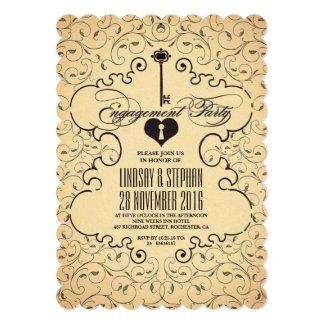 Convite chave da festa de noivado do vintage do