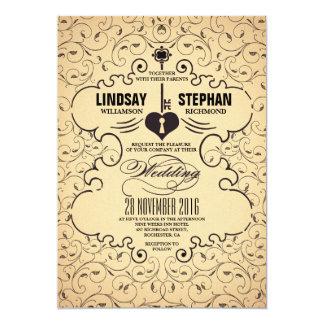 Convite chave do casamento vintage do coração