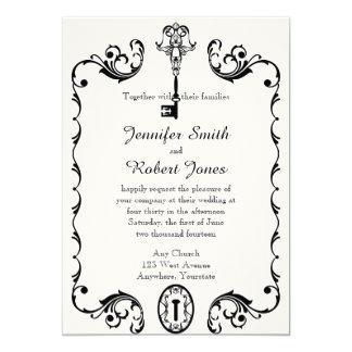 Convite chave preto e branco do casamento