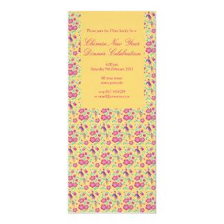 Convite chinês 4 do ano novo do Batik floral de