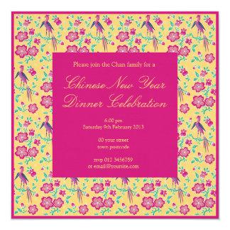 Convite chinês do ano novo do Batik floral de