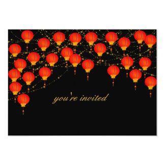 Convite chinês do ano novo do céu da lanterna