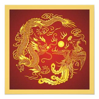 Convite chinês do casamento do ouro vermelho de