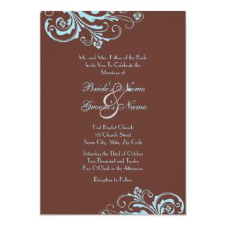 Convite chique do casamento de turquesa e de Brown