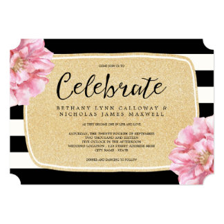 Convites listrado preto branco convites de casamento anivers rio ou festas - Chique campagne ...