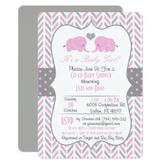 Convite cinzento cor-de-rosa do chá de fraldas do