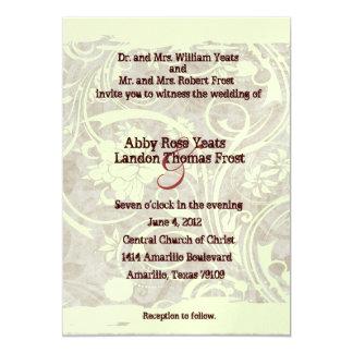 Convite cinzento do casamento do pergaminho gasto