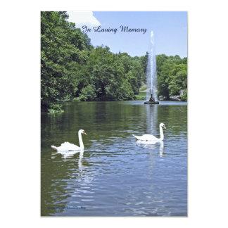 Convite, cisnes e fonte da cerimonia comemorativa convite 12.7 x 17.78cm