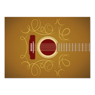 Convite clássico acústico da guitarra convite 12.7 x 17.78cm