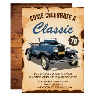 Convite clássico do aniversário do carro azul do