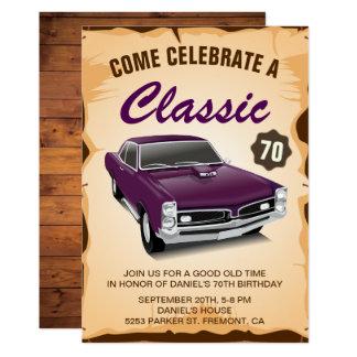 Convite clássico do aniversário do carro roxo do