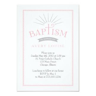 Convite clássico do baptismo do rosa do esplendor
