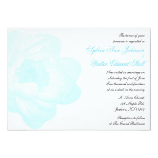 Convite clássico do casamento da peônia azul