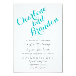 Convite clássico do casamento de turquesa do