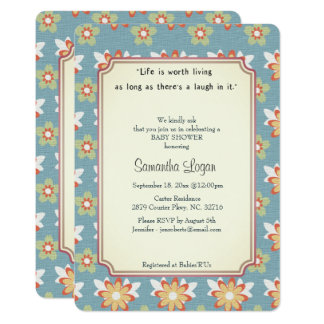 Convite clássico do chá de fraldas da história de