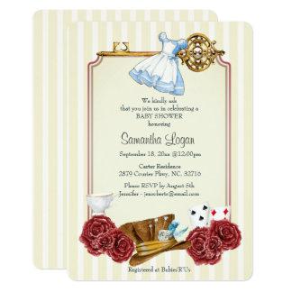 Convite clássico do chá de fraldas de Alice do