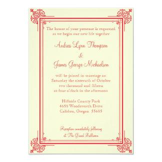 Convite clássico vermelho e do marfim do casamento