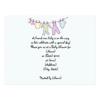 Convite-Clothesline personalizado do chá de Cartão Postal