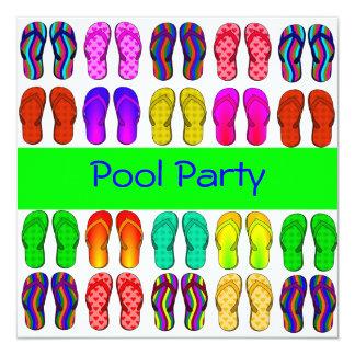 Convite colorido da festa na piscina dos chinelos