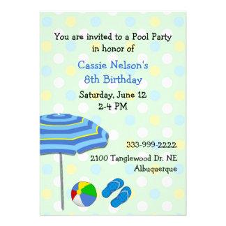 Convite colorido do aniversário da festa na piscin