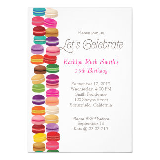 Convite colorido do aniversário de Macaron