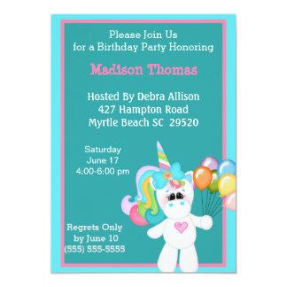 Convite colorido do aniversário do unicórnio