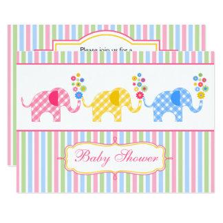 Convite colorido do chá de fraldas dos elefantes