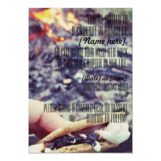 Convite comemorativo da fogueira do cookout/