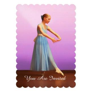 Convite, considerando da dança, bailarina no azul convite 12.7 x 17.78cm