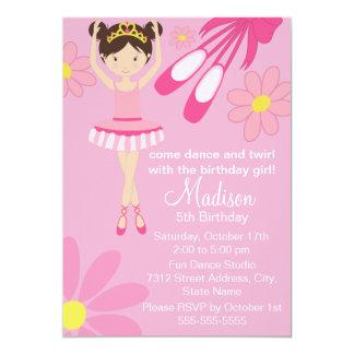 Convite cor-de-rosa 1 do aniversário do dance convite 12.7 x 17.78cm