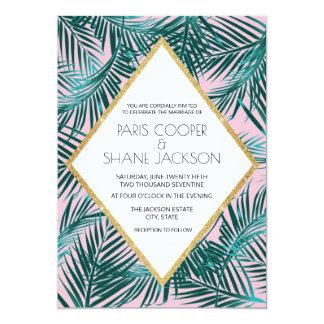 Convite cor-de-rosa 5x7 do casamento da palma