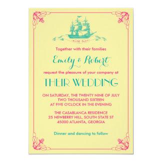 Convite cor-de-rosa amarelo do casamento da âncora